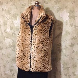 Reversible Animal print vest women's medium